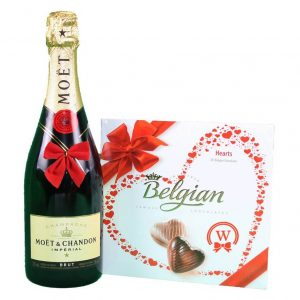Moet Chandon & Belgian Bonbons Box – Christmas Gift