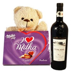 Sweet Milka Hearts with Red Wine and Teddy – Christmas Gift