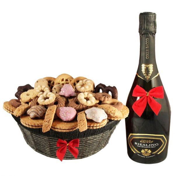 Ambassador Cookies Basket with Sparkling Wine - Christmas Gift