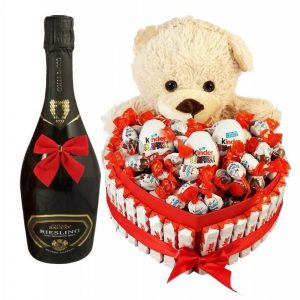 Bostjan Teddy Bear Heart Shape Kinder with Sparkling Wine – Christmas Gift