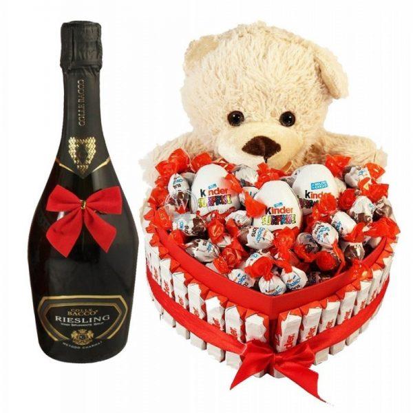 Bostjan Teddy Bear Heart Shape Kinder with Sparkling Wine - Christmas Gift