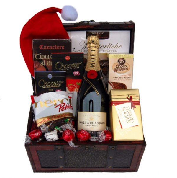 Christmas MOET Treasure Chest Christmas Gift Basket