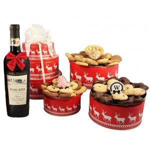 Christmas Perfecto Cookies Christmas Gift Basket-With Red Wine