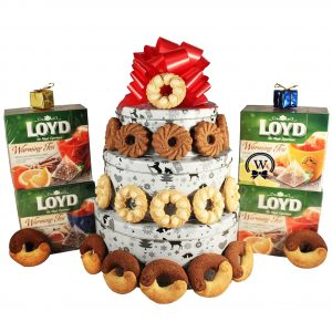 Christmas Perfecto With Tea – Cookies Christmas Gift Basket Tin Tower