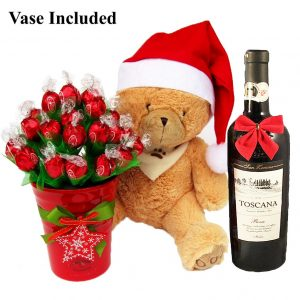 Christmas Teddy Wishes With Red Wine Gift