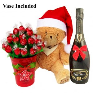Christmas Teddy Wishes With Sparkling Wine Gift