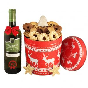 Christmas Unlimited Cookies Christmas Gift Basket With White Wine