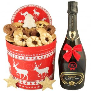 Christmas Unlimited – Cookies Christmas Gift Basket With Sparkling Wine