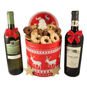 Christmas Unlimited Cookies Tin Box With Dual Wines – Cookies Christmas Gift Basket