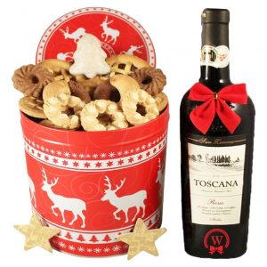 Christmas Unlimited Cookies Tin Box With Red Wine – Cookies Gift Basket