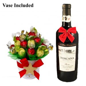 Classic Christmas Sweet Bouquet with Red Wine Gift