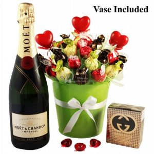 Green Melody with Moët and Gucci – Sweet Bouquet Christmas Gift