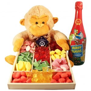 Haribo Monkey Surprise with Kids Champagne – Christmas Gift Basket