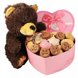 Heart Shape Teddy Cookie Christmas Gift