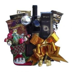 Holiday Greeting Christmas Gift Basket