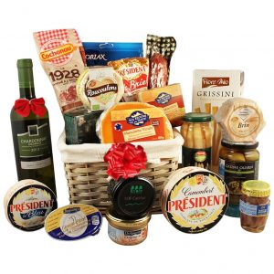 Holiday's Applause Basket – Wine & Cheese Christmas Gift Basket