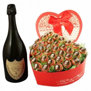 Legendary Love Story – Dom Perignon & Chocolate Bouquet Christmas Gift