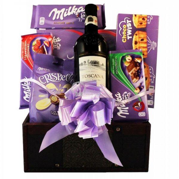 Milka Chocolate Collection - Wine Christmas Gift Basket