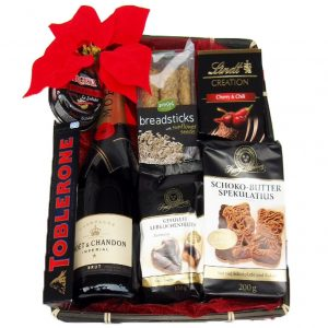Moet Red Black Pearl Christmas Gift Basket