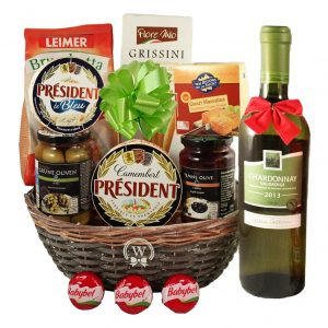 Season Greeting with White Wine – Christmas Gift Basket