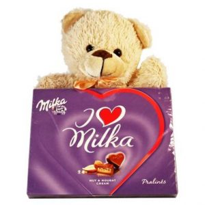 Sweet Milka Hearts With A Teddy – Christmas Gift
